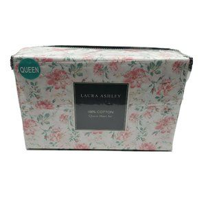 Laura Ashley Fragrant Floral Pet White Queen Sheet